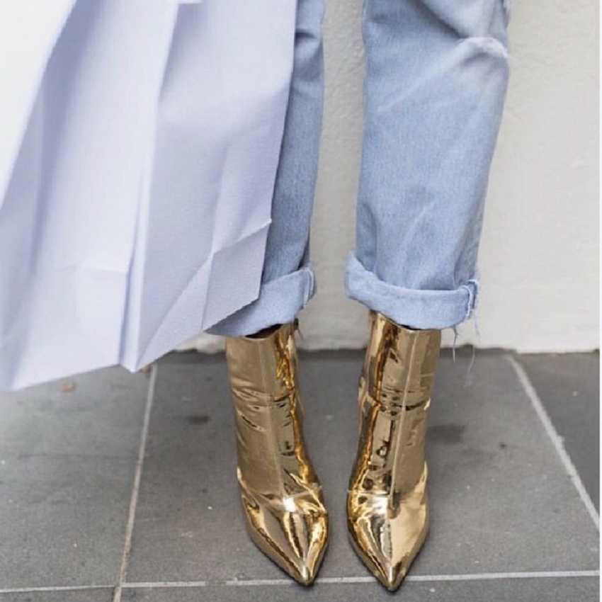 2019 herfst winte vrouwen laarzen zilver goud metallic lederen enkellaars voor vrouwen wees teen hoge hakken laarzen sexy dames schoenen