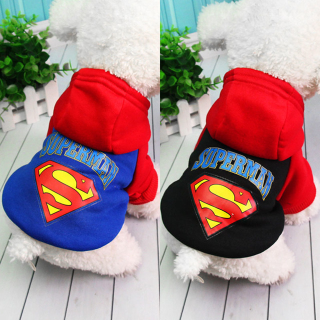 Superman Cheap Dog Clothes For Small Dogs Winter French Bulldog Jacket Dog Halloween Costume Chihuahua Puppy Hoodies Pet Clothes