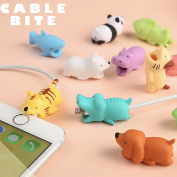 1 Pcs Cable Bite Protector for Iphone Cable Winder Phone Holder Accessory Organizer Rabbit Dog Cat Animal Doll Model Funny protectores de cargador iphone