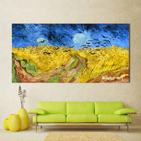 handpainted Landscape Wheat field With Crows Oil Painting Modern Canvas Art Wall Pictures For Living Room bedroom Home Decor