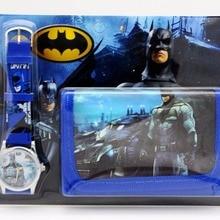 Batman kids Sets watch and wallet purse wrist quartz Christmas Children gift Car