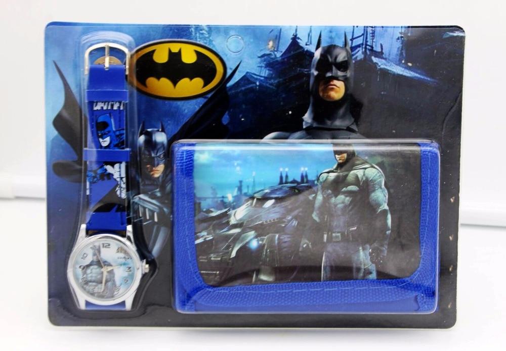 Batman Kids Sets Watch And Wallet Purse Wrist Quartz Christmas Children Gift Cartoon Watches Students Watches