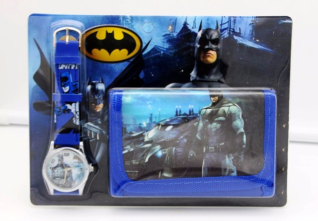 Batman kids Sets watch and wallet purse wrist quartz Christmas Children gift Car
