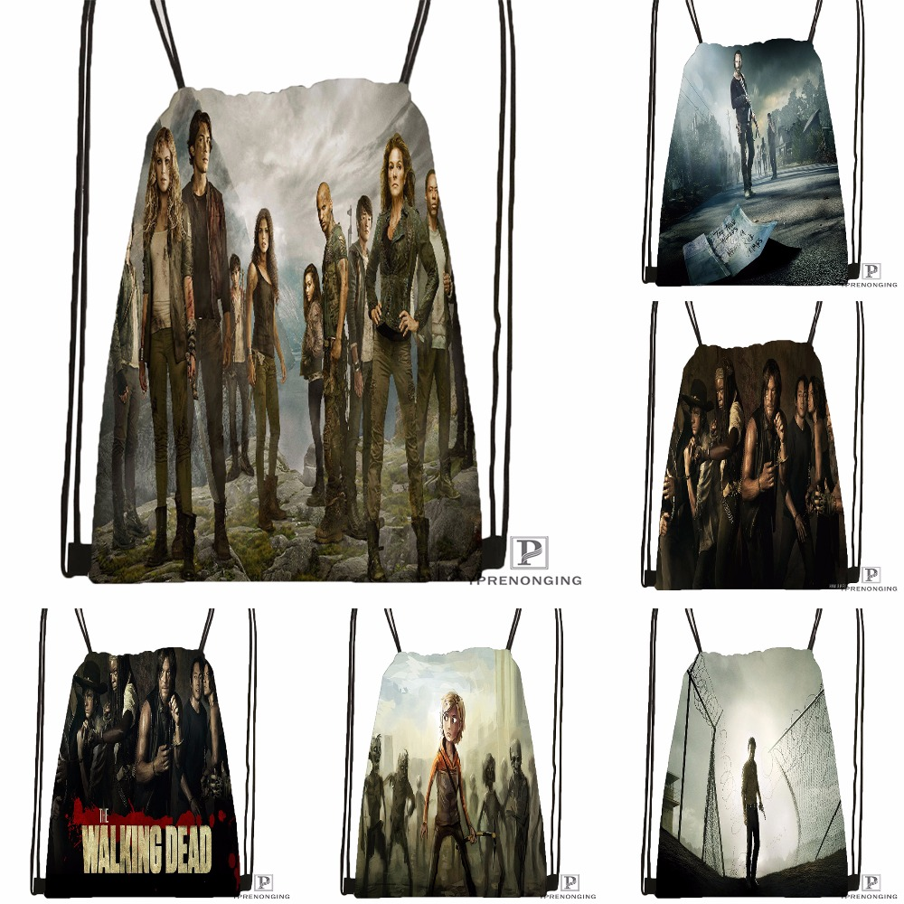 Custom The Walking Dead Drawstring Backpack Bag Cute Daypack Kids Satchel (Black Back) 31x40cm#180531-04-20