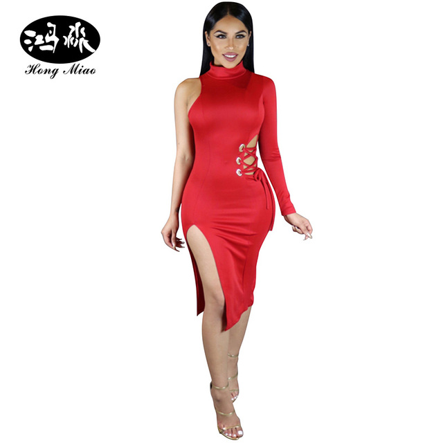 b6d60a0936 HongMiao Women One Shoulder Dress Long Sleeve Solid Red Dress Sexy Bandage  Hollow Out Bodycon Dress Midi Party Night Clubwear