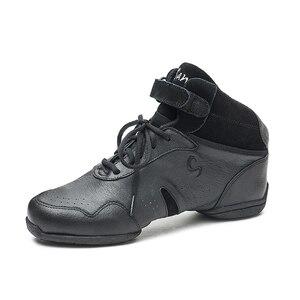 Image 2 - سانشا الرقص أحذية رياضية جلد الخنزير العلوي TPR الانقسام الوحيد عالية أعلى كعب منخفض رياضية الفتيات النساء الرجال الرقص الحديث أحذية B62LPI