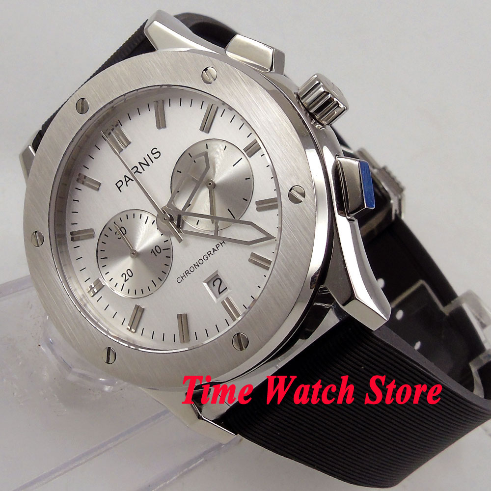 parnis coffee dial rubber strap deployant clasp quartz chronograph mens watch 218 Parnis 44mm Men's watch Full chronograph quartz movement white dial rubber strap deployant clasp P75