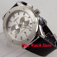 Parnis 44mm Men's watch Full chronograph quartz movement white dial rubber strap deployant clasp P75