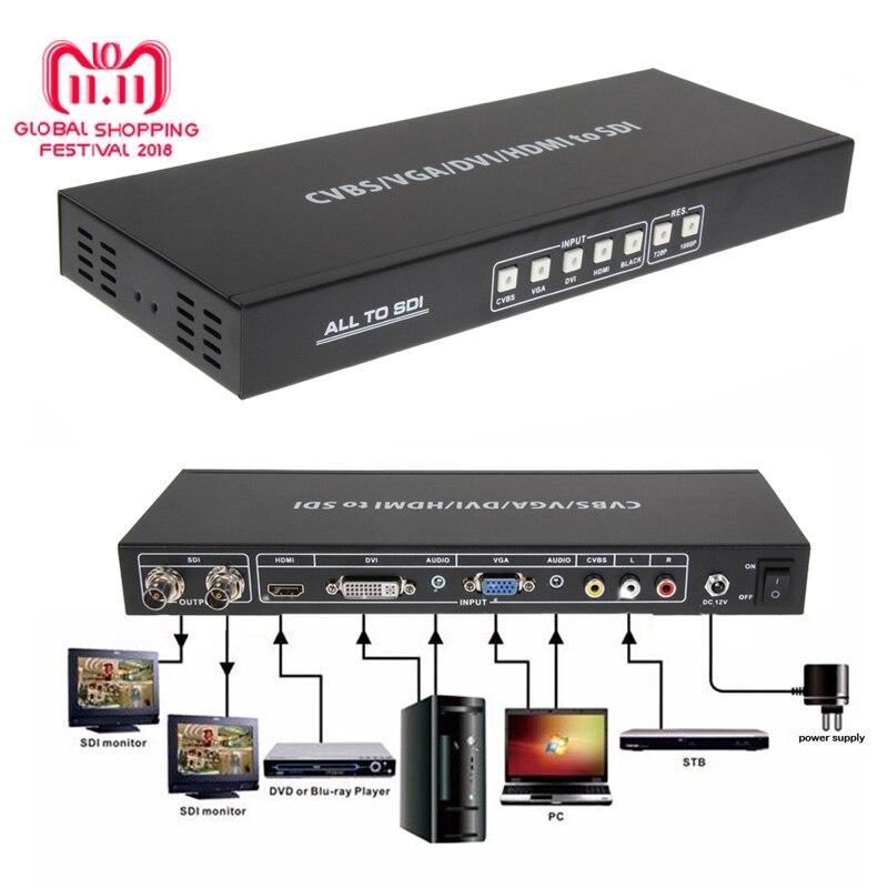 CVBS/VGA/DVI/HDMI to SDI Converter AV Singal To 2 Port 3G SDI Video Splitter Scaler Converter with US/EU DC Power Adaptor все цены