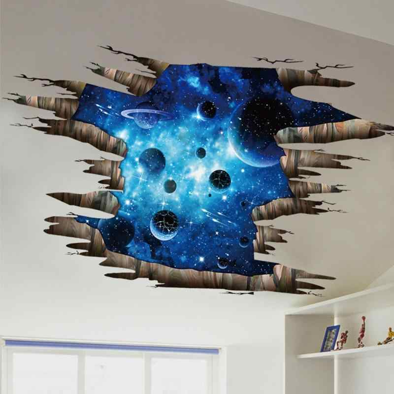 Outer Space Planets 3D Wall Stickers Cosmic Wall Decals for Kids Room Baby Bedroom Ceiling Floor Decoration