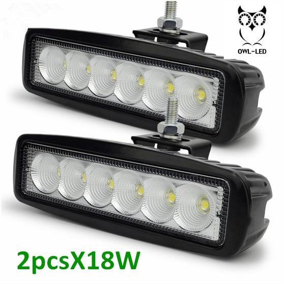 2PC LED 18W Car LED Offroad Work Light Bar for 4x4 4WD AWD SUV ATV Golf Car 12v 24v Driving Lamp Motorcycle Fog Light