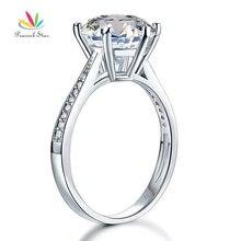 Павлин звезда Твердые 925 пробы серебро Свадьба юбилей обручальное кольцо 3 карата ювелирные изделия CFR8209