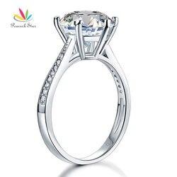 Павлин звезда Твердые стерлингового серебра 925 годовщина свадьбы обручальное кольцо 3 карат ювелирные изделия CFR8209