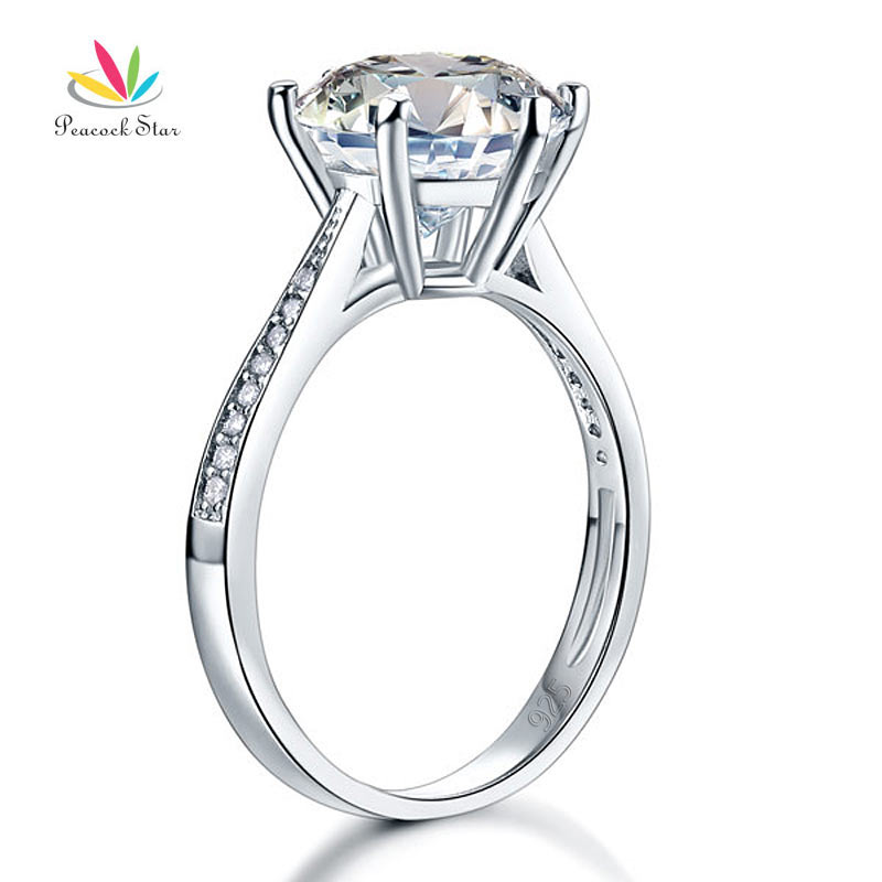 Peacock Star Solid 925 Sterling Silver Wedding Anniversary Engagement Ring 3 Carat Jewelry CFR8209 peacock star 1 carat 2 pcs wedding engagement sterling solid 925 silver ring set jewelry cfr8029