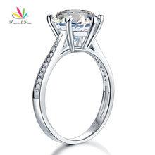 Павлин звезда Твердые 925 Серебряная свадьба Юбилей Обручение кольцо 3 карат ювелирные изделия CFR8209