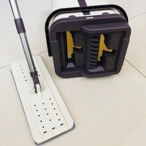 Image 3 - Mop da limpeza do assoalho do mop do aperto liso e mop da mão livre da cubeta do mop de microfibra que torce o mop molhado ou seco do uso