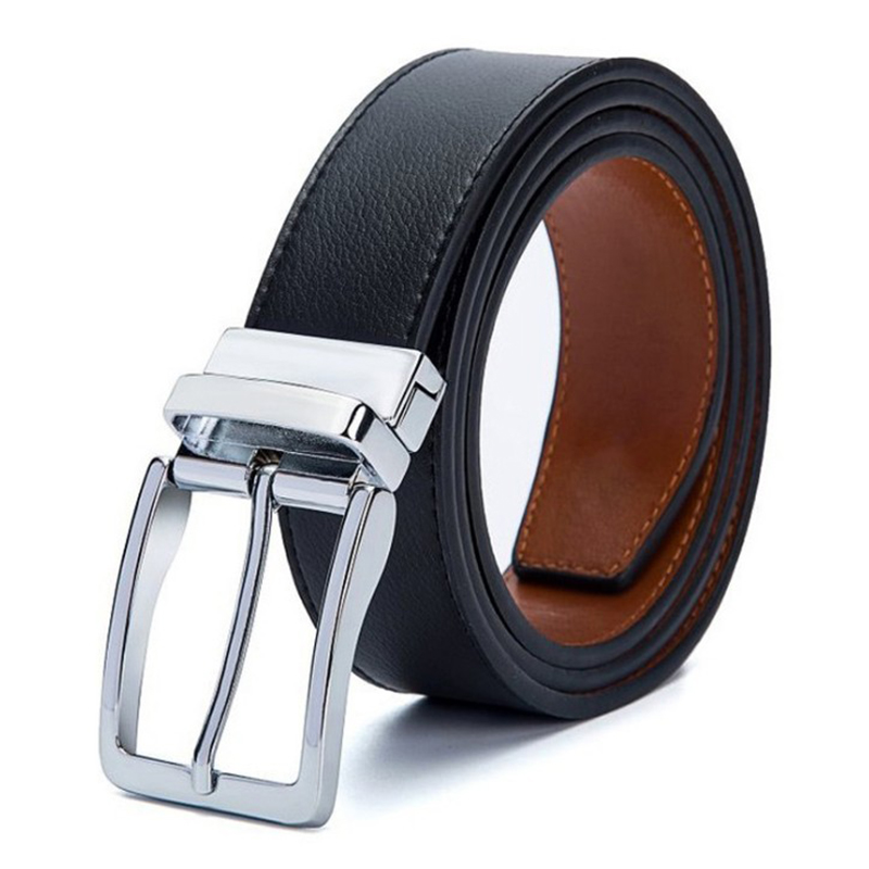 Buckle   Belts   For Men Formal Business Genuine Leather   Belt   With Double Side Black Dark Brown Yellow Brown 3.5CM Revolvable Mens