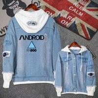 Anime Detroit Become Human Connor Jeans Coat Teen Boy Girls Autumn Winter Jacket Hooded Sweatshirt Fashion Denim Outwear Tops