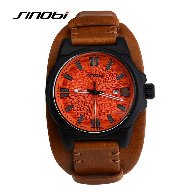 SINIBI Chinese Brand Leather Strap Sports Watch Men Fashion Casual Quartz-Watch Males Outdoor Automatic Casual Wristwatches