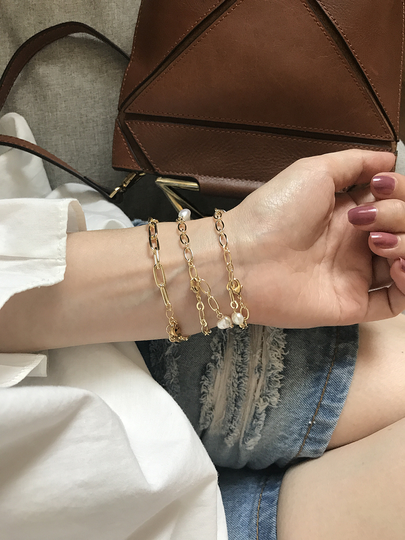 HUANZHI 19 New Gold Color Baroque Irregular Pearls Link Chain Tassel Bracelets for Women Girl Party Bangle Jewelry Gift 7