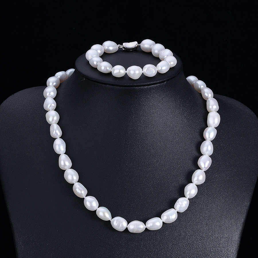 Lowest Price Genuine Pearl Jewelry Sets Elegant White Baroque Big Natural Pearl 9-10mm Necklaces For Women 925 Sterling Silver