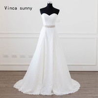 Vinca Sunny 2018 Vintage Lace Wedding Dresses With Sash A Line Sweetheart Zipper Back Vestidos De