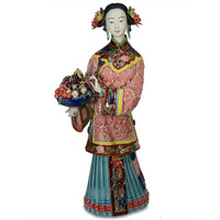 Simple Modern Chinese Ancient Lady Ceramics Statue Personality Living Room Decoration Classical Porcelain Craftwork X1779