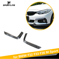 Front Bumper Fog Lamp Cover Splitters Canards Fins for BMW 4 Series F32 F33 F36 M Sport 2013 2018 Carbon Fiber / FRP