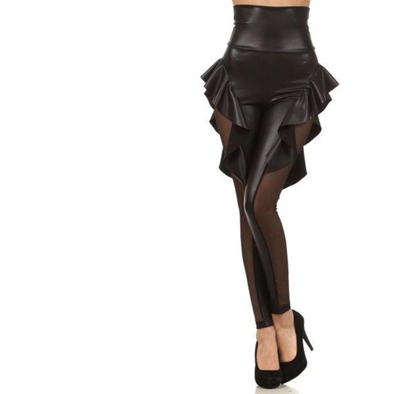 NORMOV High Waist Women Leggings Sweet Falbala Faux Leather Mesh Patchwork Push Up Mujer Leggins Workout Legging Female