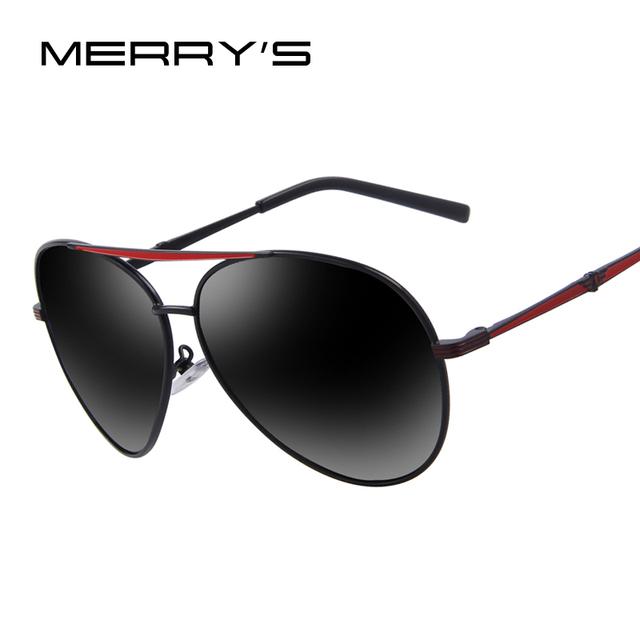 MERRY'S Moda Masculina óculos Polarizados óculos de Sol de Design Da Marca oculos de sol UV400 óculos de Sol Da Lente Do Espelho Azul