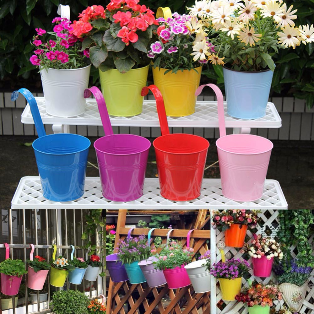 10pcs Metal Iron Hanging Flower Pot Container Home Balcony Garden Planter Barrels Decoration 10 Colors Garden Supplies