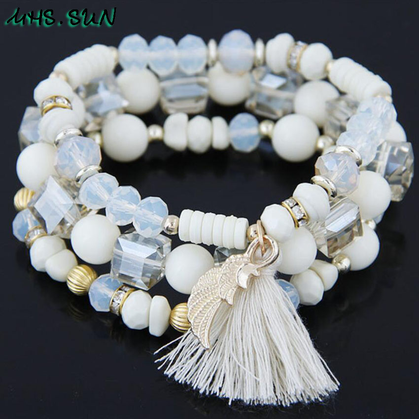 15-1Fashion Bohemia Style Women Beaded Bracelet Bangle Vintage Tassel Female All-Match Beads Jewelry European Design 1Pcs