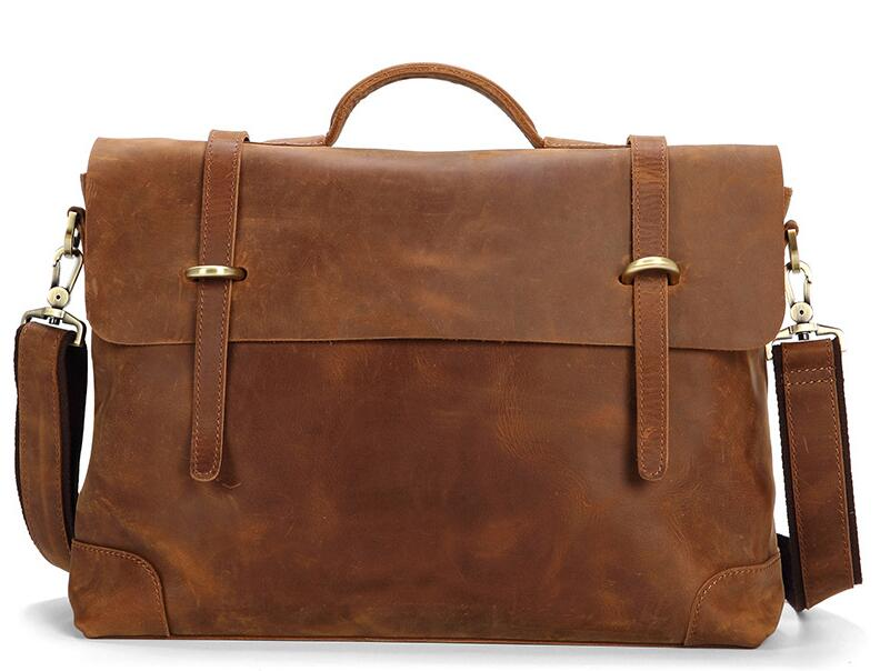 Genuine leather cow skin men large capacity briefcase business laptop bag