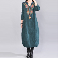 Ethnic Wind Embroidery Cotton Linen Dress Women Long Loose V Neck Mid Calf Dresses Spring Autumn