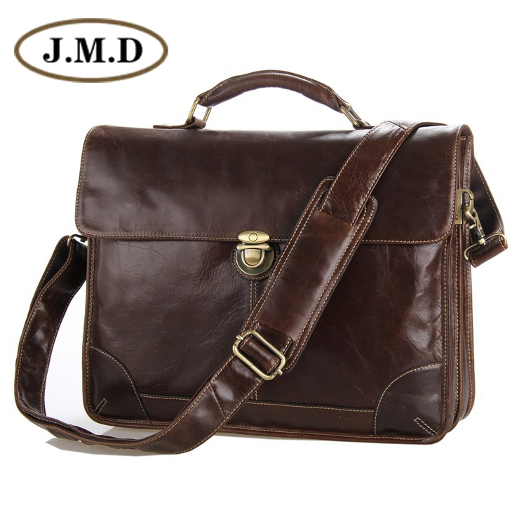 J.M.D New Classic Vintage Leather Men's Chocolate Briefcase Laptop Bag Messenger Handbag Hot Selling # Jmd Leather Bags 7091C