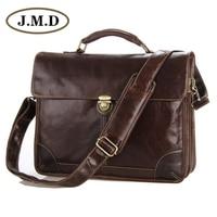 J.M.D New Classic Vintage Leather Men's Chocolate Briefcase Laptop Bag Messenger Handbag Hot Selling # Jmd Leather Bags 7091C