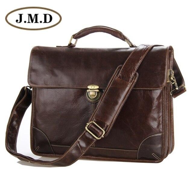 db814a63e1c7 Jmd Новые Классические Винтаж кожа Для мужчин ШОКОЛАД Портфели сумка для  ноутбука сумка Лидер продаж #