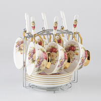Advanced Bone China Tea Cup Set Porcelain Cups and Saucers Coffee Drinkware Set For Gifts