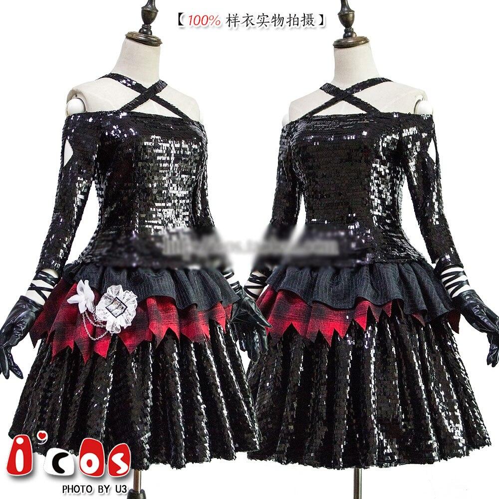 Аниме egoist Fallen PV костюм Косплей Костюм Униформа черный bling SJ Готическая Лолита платье полный комплект в наличии Хэллоуин