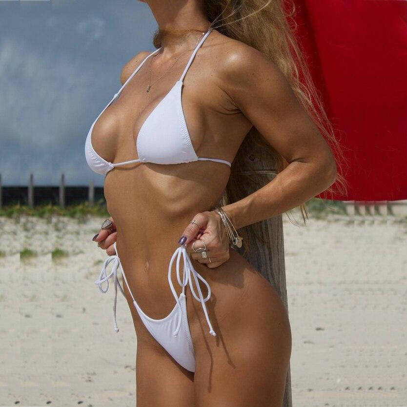 728e21a6d Blanco sólido clásico Bikini Tanga de las mujeres trajes de baño verano  playa String Bikinis Sexy