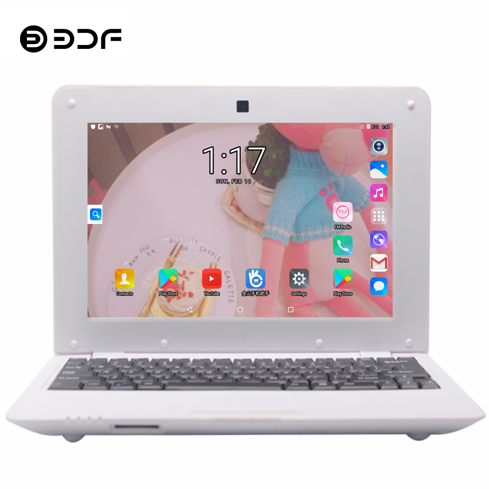 BDF 10.1 Inch Notebook Android Laptop Laptop 1GB/8GB Quad Core Android 6.0 WiFi Mini Netbook Bluetooth Computer Tablets Pc 10