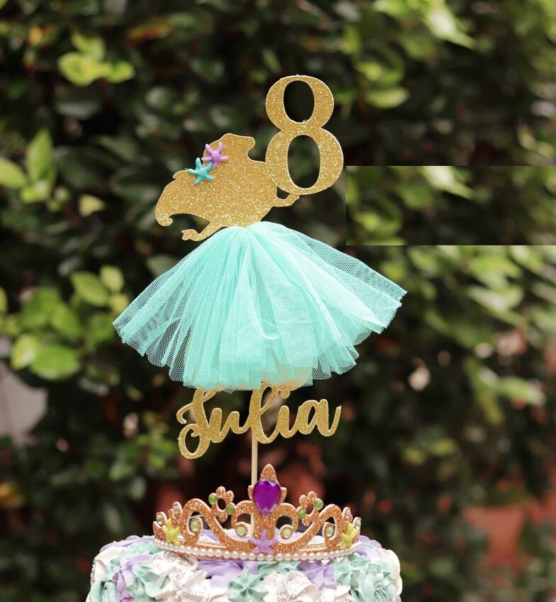 Personalised Children/'s Cake Topper Choose Your Name /& Age Glitter Gold Fuchsia