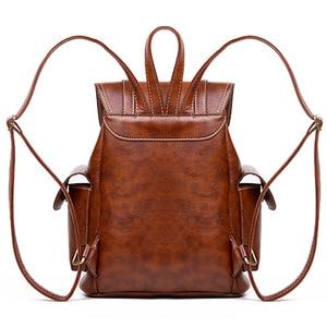 Image 2 - Vintage Leather Backpack Women Fashion Large Drawstring Rucksack School Travel Bag For Teenage Girls mochilas Black Brown XA480H