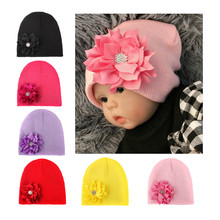 Knitted Baby Hats For Girls Boys Fashion Lovely Flower Baby Hat Winter Newborn Cotton Baby Girl Caps and Hats Kids Head Wrap Cap