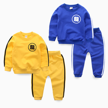 Child casual set 2016 children's spring clothing 100% cotton casual sweatshirt trousers male child sports twinset