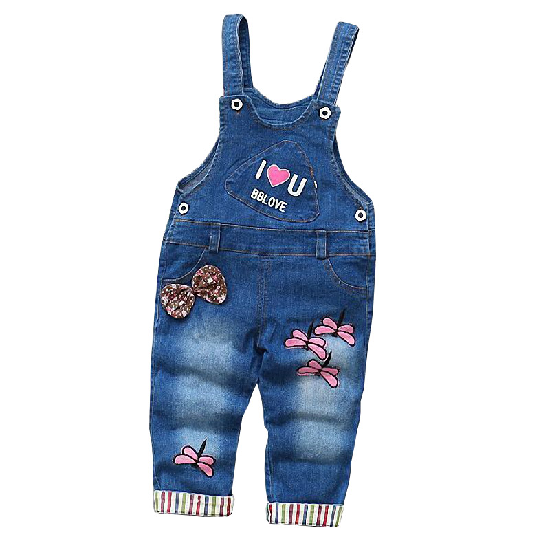 BibiCola 2017 Denim Overalls Baby Girls Pants Summer Spring Strap Pants Newborn Girls Jeans Cartoon Dragonfly Infant Belt Pants
