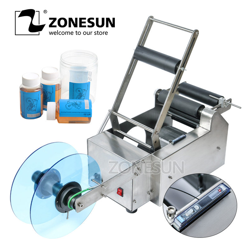 ZONESUN Semi-automatic Round Bottle Labelling Machine Stick Mark Labeller Manual Labeling Machine For Plastic Glass Bottles