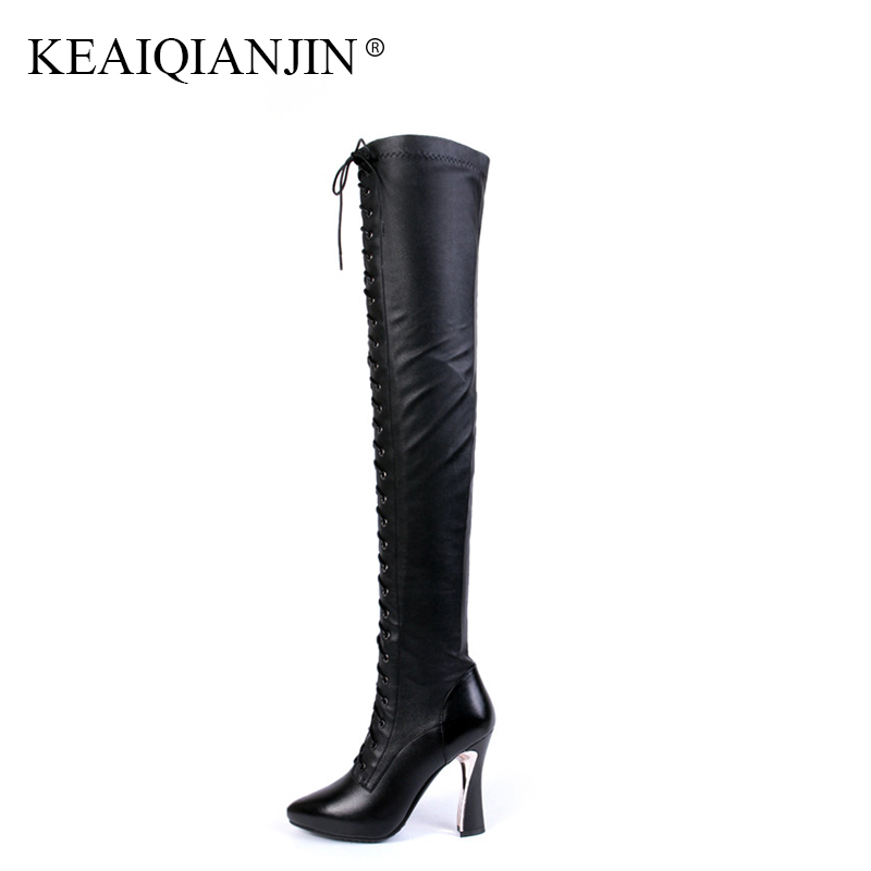 KEAIQIANJIN Black High Heeled Shoes Autumn Winter Rivet Lace Up Knee High Boots Woman Genuine Leather Over The Knee Boots 2018 keaiqianjin black high heeled shoes autumn winter rivet lace up knee high boots woman genuine leather over the knee boots 2018