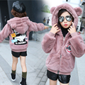 Baby girls clothes with a hood top child clothing thickening outerwear teenage girl cartoon print warm thermal jacket