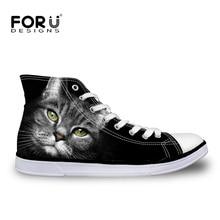 Forudesigns 3d cat head pisos lona de los hombres ocasionales clásicos zapatos de plataforma masculinos zapatos para caminar transpirables sapatos femininos